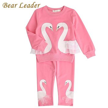 Girls Kids Sets New Autumn Sets Children Clothing 3D Swan Lace Design Sweatshirts+Pants Sets