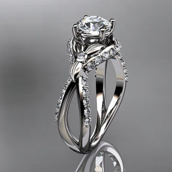 Unique 14kt white gold diamond leaf and vine wedding ring,engagement ring ADLR218
