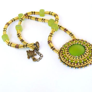 Bead Embroidery Necklace  -     Swarovski  Lunasoft Olive green  Yellow