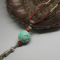Genuine graved lotus turquoise neckalce jasper necklace long chain stone necklace  totem  boho stone necklace mala necklace chakra necklace