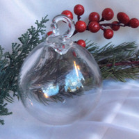 Hand Blown Glass Christmas Ornament in Clear.  Blown Glass Ball Ornament