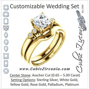 CZ Wedding Set, featuring The Luzella engagement ring (Customizable 5-stone Design with Asscher Cut Center and Round Bezel Accents)