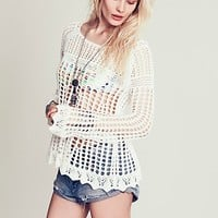 Free People Womens Annabelle Crochet Pullover
