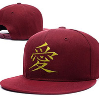 ZZZB Japanese Anime Naruto Gaara Logo Adjustable Snapback Caps Embroidery Hats - Red