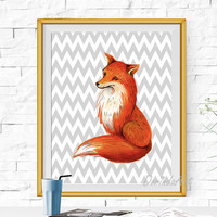 Fox print Gray Chevron Fox nursery wall art Woodland nursery decor Orange nursery art Watercolor Fox printable DOWNLOAD 5x7 8x10 11x14 16x20