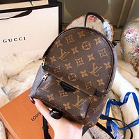 LV Louis Vuitton Popular Women Casual Daypack School Bag Cowhide Leather Backpack I-BCZ(CJZX)