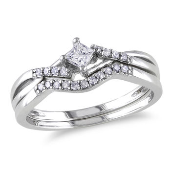 1/5 CT. T.W. Princess-Cut Diamond Split Shank Bridal Set in Sterling Silver