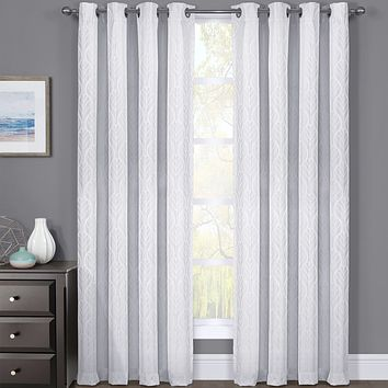 Set of 2 Hilton Blackout Curtains Panels Jacquard Thermal Insulated Pairs