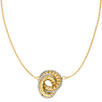 14K Two Tone Yellow And White Gold Interconnected Open Circle Element Pendants On 18 Inch Necklace