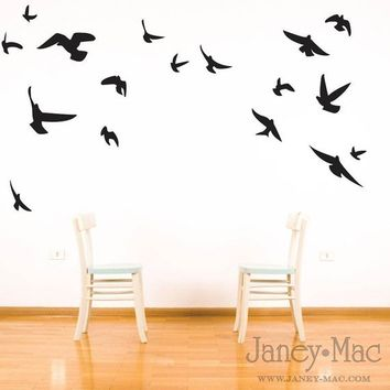 Bird Wall Decal - Flying Birds Vinyl Wall Art Room Decor Sticker - College Dorm - HT113B