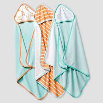 Baby 3 Pack Fox Print Hooded Microfiber Towels Soft Aqua - Cat & Jack Baby™ : Target