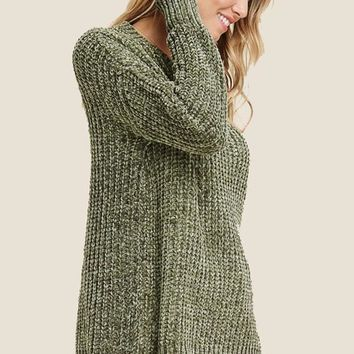 Scallop Hem Sweater - Light Olive