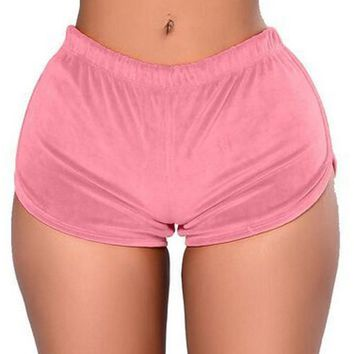 Low waist gold velvet sport shorts fo women fitness 3 colors Breathable Ladie Girl Short Pants Sexy women's yoga Clothes running