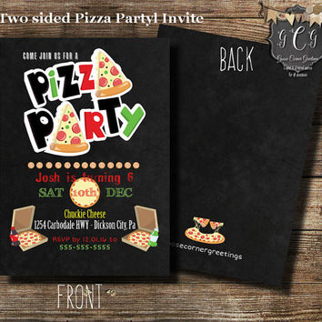 Pizza Party invitation, Pizza Party invitations, Pizza Party invite, Pizza invite, Pizza Birthday Party,Birthday Party, Printable invite