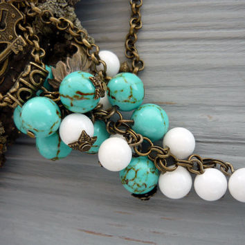 Turquoise beaded pendant bohemian jewelry bridesmaid necklace blue white jewelry cluster statement necklace turquoise bridesmaid jewelry