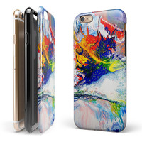 Bright White and Primary Color Paint Explosion iPhone 6/6s or 6/6s Plus 2-Piece Hybrid INK-Fuzed Case