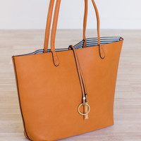 Claire Reversible Tote Set - Tan