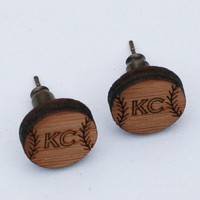KC Baseball - Bamboo Laser Cut Earrings - Kansas City Inspired