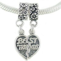 Sterling Silver Best Friends European Bead Charms Fit 3mm Cable Bracelet