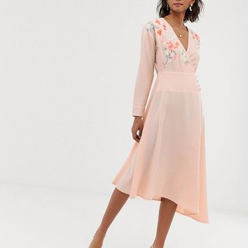 ASOS DESIGN embroidered wrap midi dress | ASOS