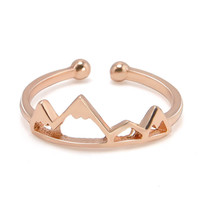 1 Pc Rose Gold Anel Sons of Anarchy Adjustable Brass Open Snow Mountain Rings For Women Men