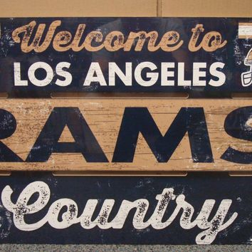 "LOS ANGELES RAMS WELCOME TO RAMS COUNTRY WOOD SIGN 19""X30'' NEW WINCRAFT"
