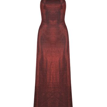 Honey Couture VALERIE Red Strapless Tie Up Back w Collar Maxi Dress