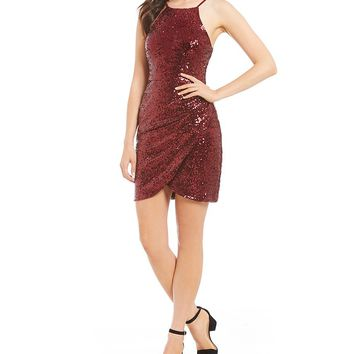 B. Darlin Sequin Draped Sheath Dress | Dillards