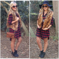 Pom Brown Faux Fur Vest