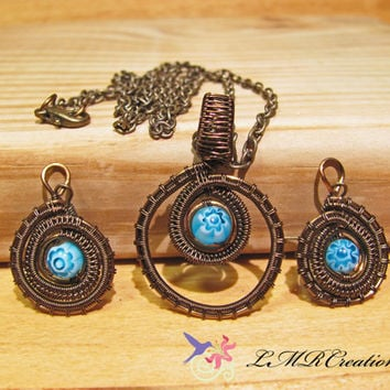 Blue Milefori Bead Earring and Necklace Set, Vintage Bronze Wire Wrapped Jewelry Set,  Unique Handmade Wire Woven Jewelry