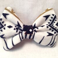 Black and White Tribal Hair Bow Clip by dAnnonEtsy on Etsy