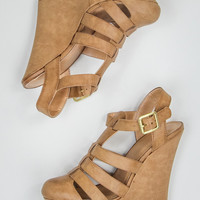 Closed Toe Wedges in Tan