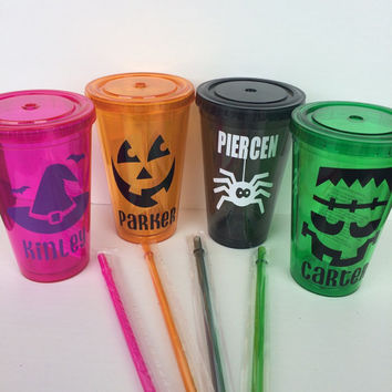 Personalized Halloween Tumblers: 16 oz Acrylic Insulated Double Walled Tumbler Cup With Lid and Matching Straw