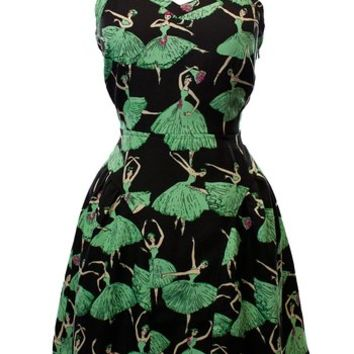 Sidecca Ballerina Print Cami Dress-Black/Mint-Large