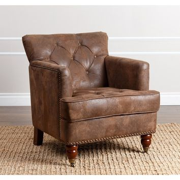 Abbyson Tafton Antique Brown Fabric Club Chair | Overstock.com Shopping - The Best Deals on Living Room Chairs