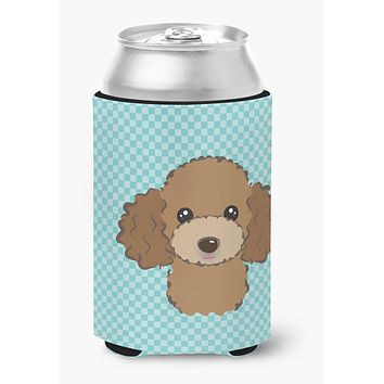 Checkerboard Blue Chocolate Brown Poodle Can or Bottle Hugger BB1194CC