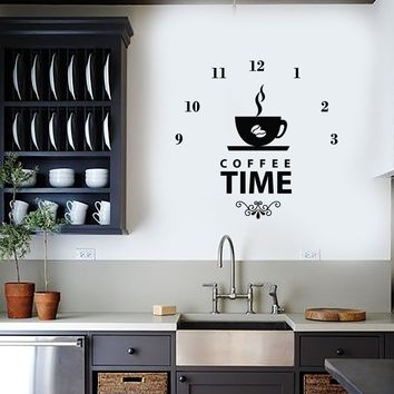 Vinyl Wall Decal Coffee Time Clock Shop Coffee Lover Decor Art Stickers Mural (ig5667)