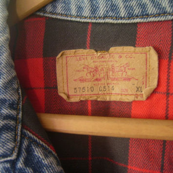 Vintage Levis Jacket, Youth XL, Red & Black Plaid Flannel Lined