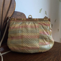 1980's Snakeskin Purse ~ Pastel Rainbow Stripes ~ Leather ~ Gold Hardware ~ Shoulder Bag ~ 80s Vintage