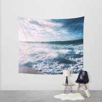 Blue Ocean Wall Tapestry by Marykatemcinerney
