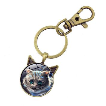 Creative Cheshire Cat Glass Round Dome Key Chain Pendant Alice In Wonderland Vintage Jewelry Antique Bronze Key Ring Chain