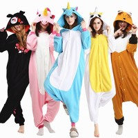 Woman Pajamas Set Winter Pyjama Licorne Womens Pyjamas Unicorn Warm Sleepwear Pijama Unicornio Adult Onsie Homewear