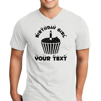 Personalized Birthday Girl Cupcake -Customizable- Name Adult V-Neck T-shirt
