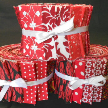 Red Quilt Fabric Strips Jelly Roll  - Time Saver Quilt Kit by SEW FUN QUILTS -