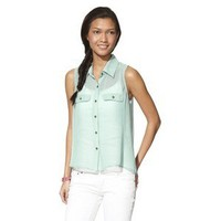 Xhilaration® Juniors Sleeveless High Low Pleated Back Top - Assorted Colors