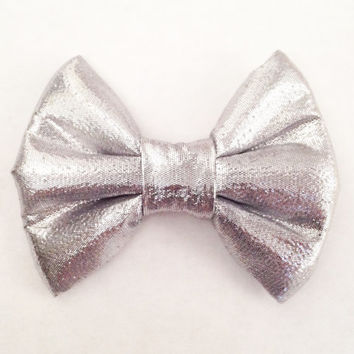 The Metallic Silver Foil Handmade Bow (Handmade Bow / Bow Tie / or Headband)
