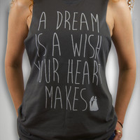 Cinderella A Dream is A Wish Your Heart Makes Junior Fitted Muscle Tank