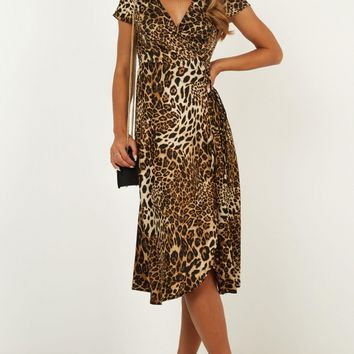 Salsa Wrap Dress In Leopard Print Produced By SHOWPO