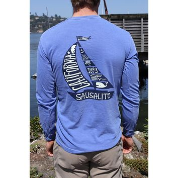 Sausalito Sail Tale Men's Long Sleeve T Blue