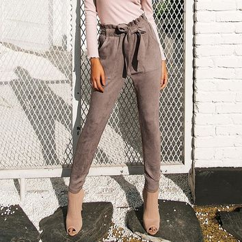 Suede high waist capri pencil trouser pants